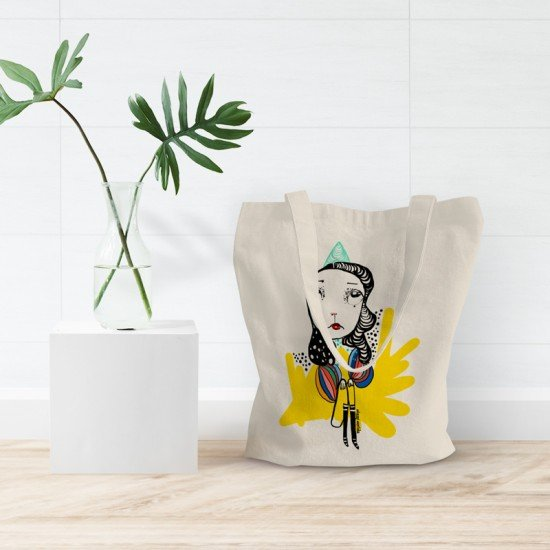 She thinks in colors - Cotton Tote Bag
