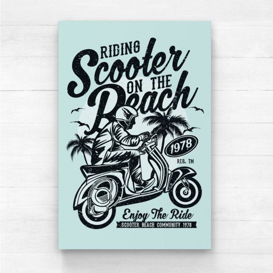 Scooter on the beach - Canvas Print