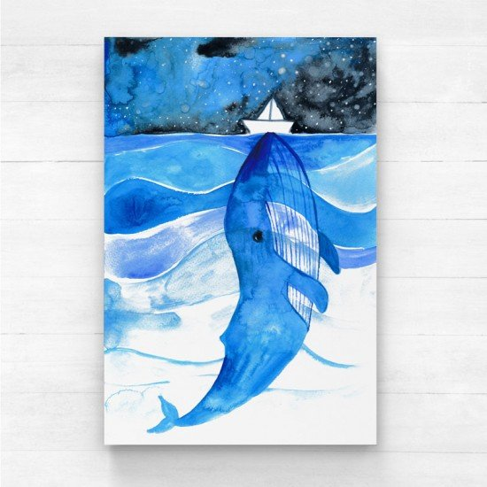 Whale & paper boat - Canvas Print