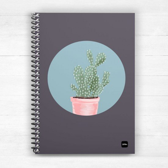 Cutie Cactus in purple - Spiral Notebook
