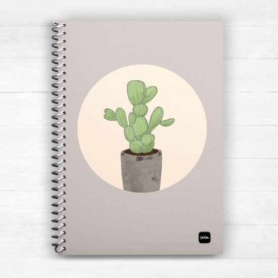 Cactus in Grey - Spiral Notebook