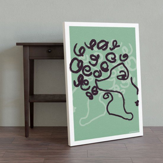 Woman - One Line Art - Pastel Green Edition - Canvas Print