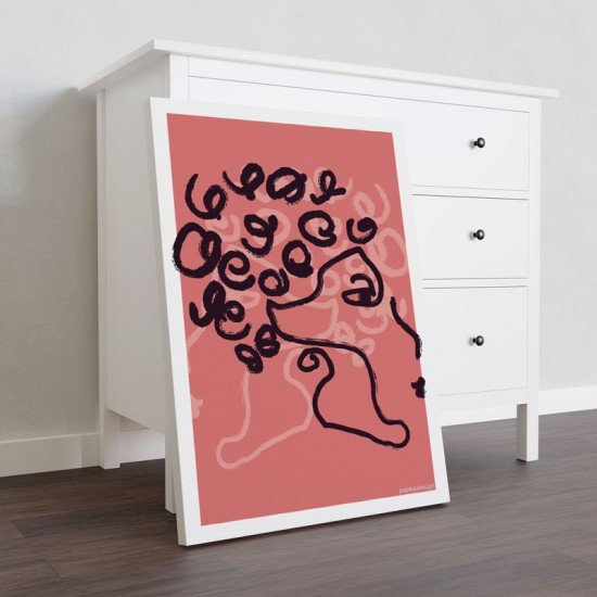 Woman - One Line Art - Dusted Rose Edition - Canvas Print