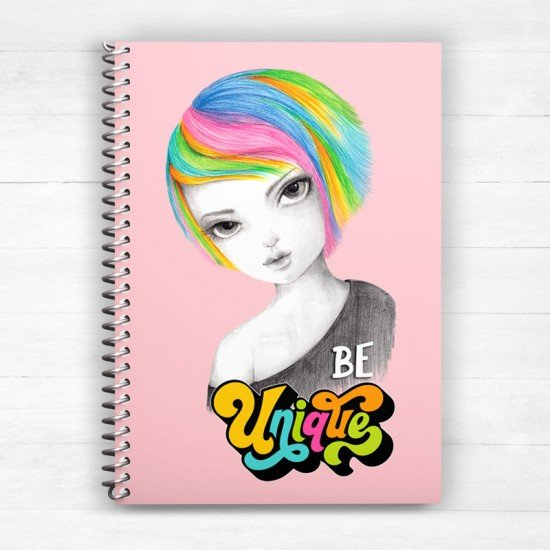 Rainbow girl Be unique - Spiral Notebook