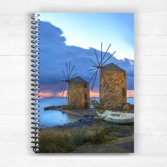 Windmills of Chios - Spiral Notebook