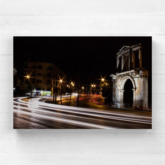 Light trails of car in Athens - Canvas Print