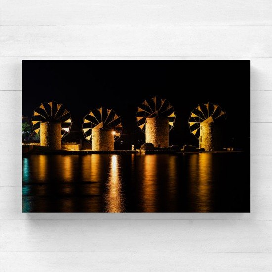 Chios Windmills by night - Canvas Print