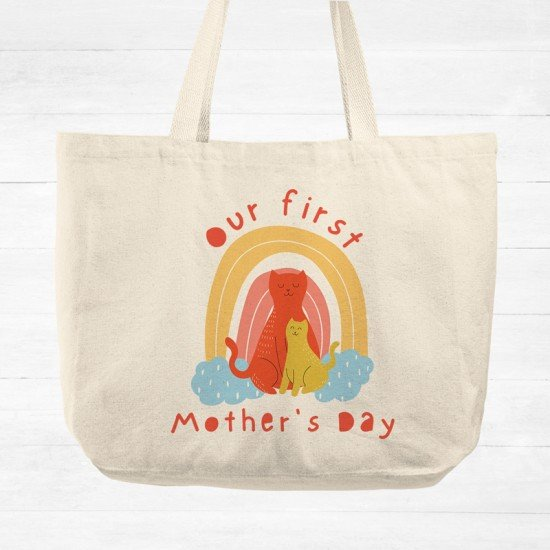 Our first Mother's Day - Cats - Cotton Tote Bag
