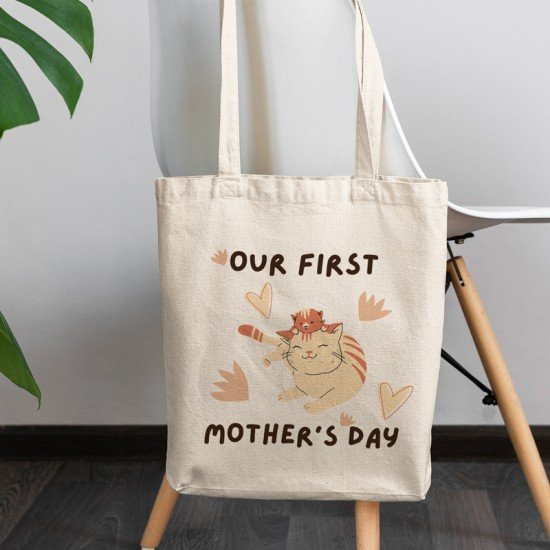Our first Mother's Day - Cats 2  - Cotton Tote Bag