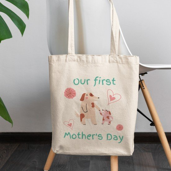 Our first Mother's Day - Dogs - Cotton Tote Bag