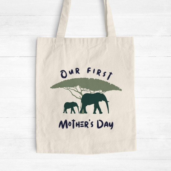 Our first Mother's Day - Elephants - Cotton Tote Bag