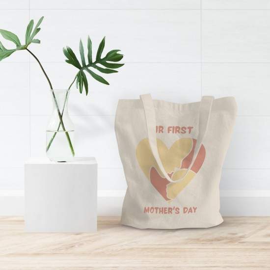 Our first Mother's Day - Girl - Cotton Tote Bag