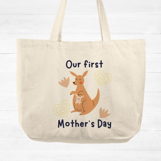 Our first Mother's Day - Kangaroo - Cotton Tote Bag