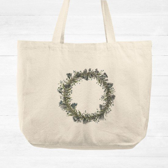 Blue flower wearth - Cotton Tote Bag