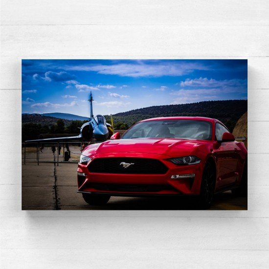 Mustang and ghter plane - Canvas Print