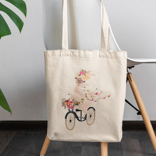 Baby Lama with bicycle - Cotton Tote Bag