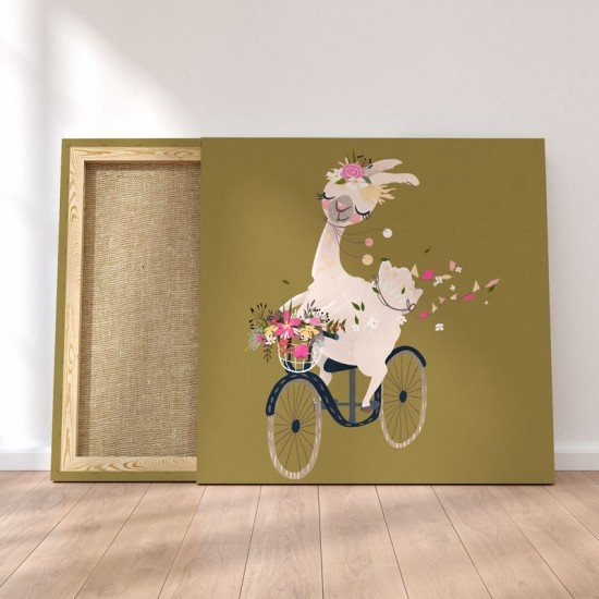 Baby Lama with bicycle - Canvas Print