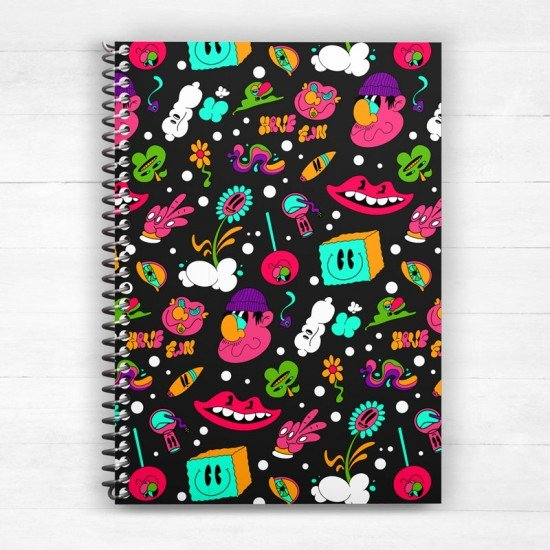 Happy and Trippy - Spiral Notebook