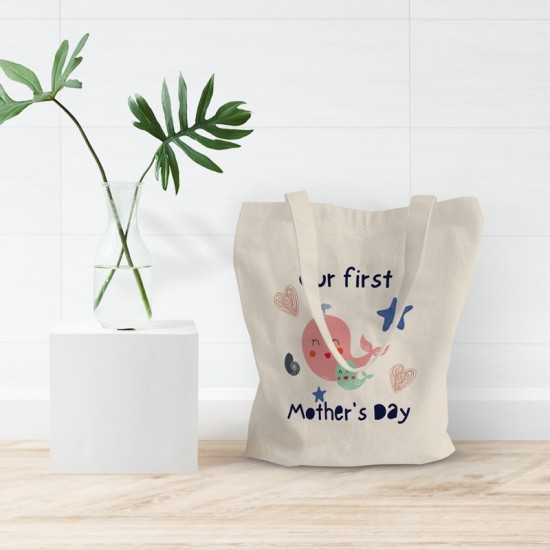 Our first Mother's Day - Whales - Cotton Tote Bag