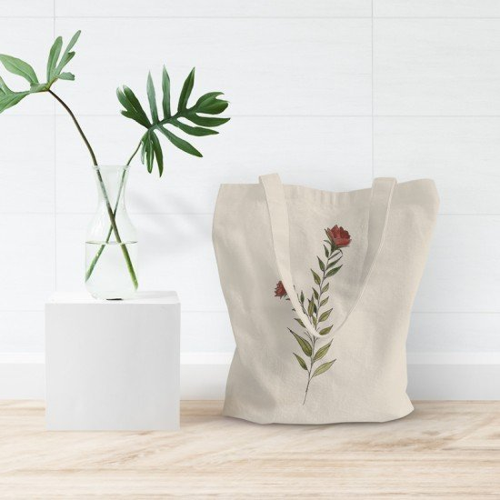 Red floral III - Cotton Tote Bag