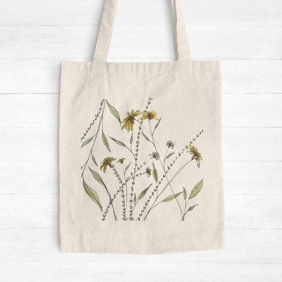Yellow floral I - Cotton Tote Bag