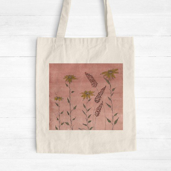 Floral with background I - Cotton Tote Bag