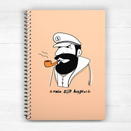 Make ship happen! - Peatch Yellow - Spiral Notebook