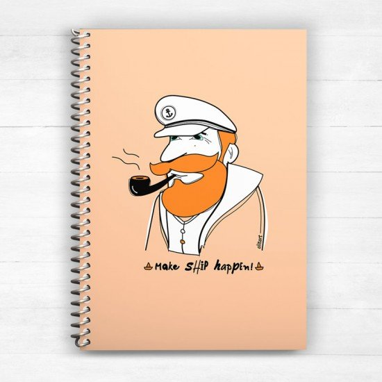 Make ship happen! v2 - Peatch Yellow - Spiral Notebook
