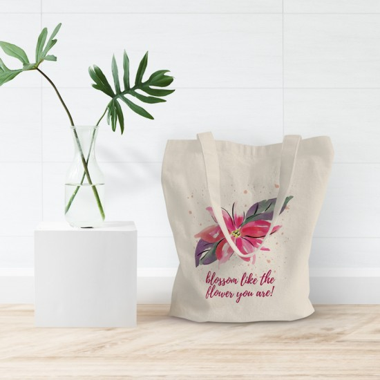 Blossom like the flower you are  - Cotton Tote Bag