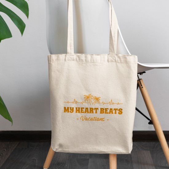 My heart beats for vacations - Cotton Tote Bag