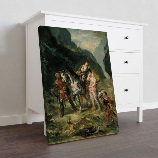 Delacroix - Angelica and the wounded Medoro - Canvas Print